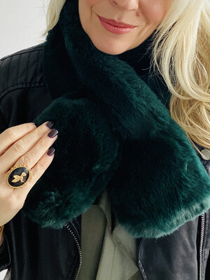 Faux Fur Scarf Forest Green