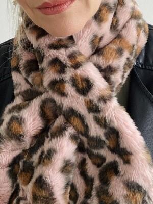 Faux Fur Scarf Leopard/Pink