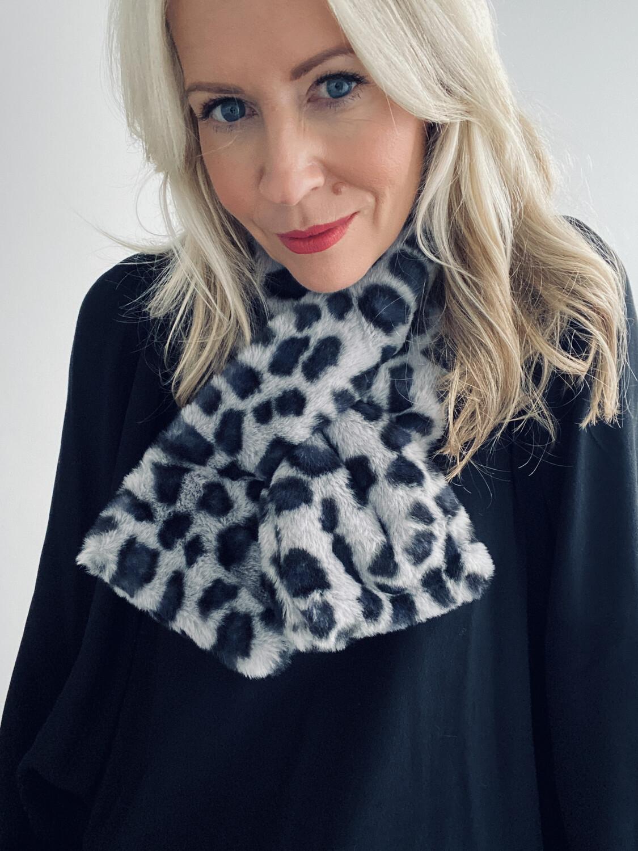 Leopard Faux Fur Scarf Blue/Grey