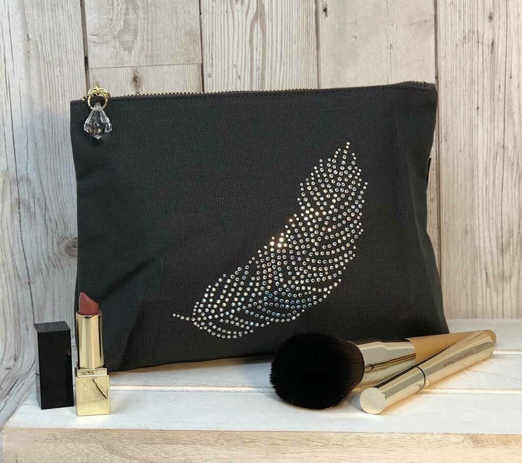 Feather Crystal Make Up Bag