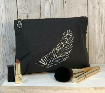 Feather Crystal Make Up Bag