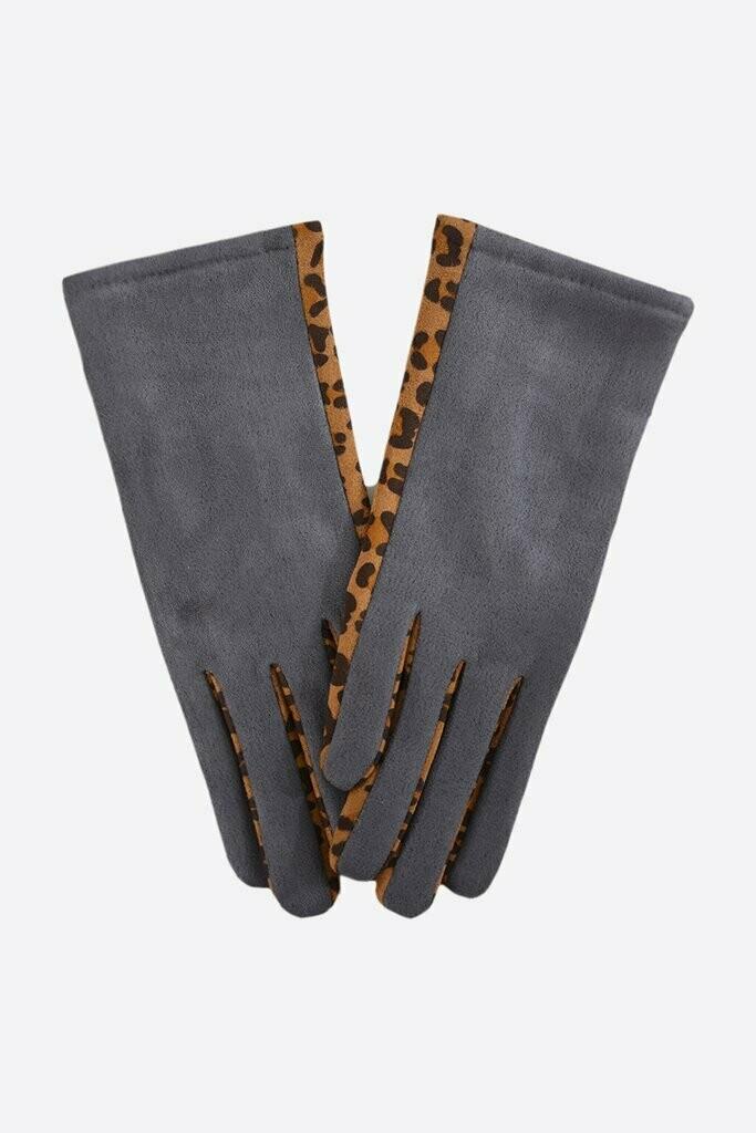 Grey/Leopard Gloves