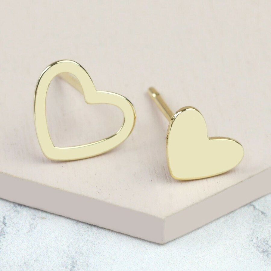 Gold Mismatched Heart Earrings