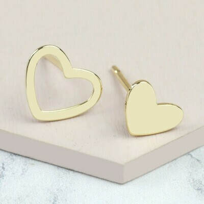 Mismatched Heart Earrings Gold