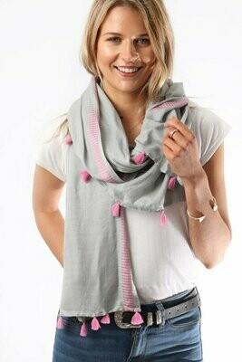 Grey & Pink Tassel Scarf