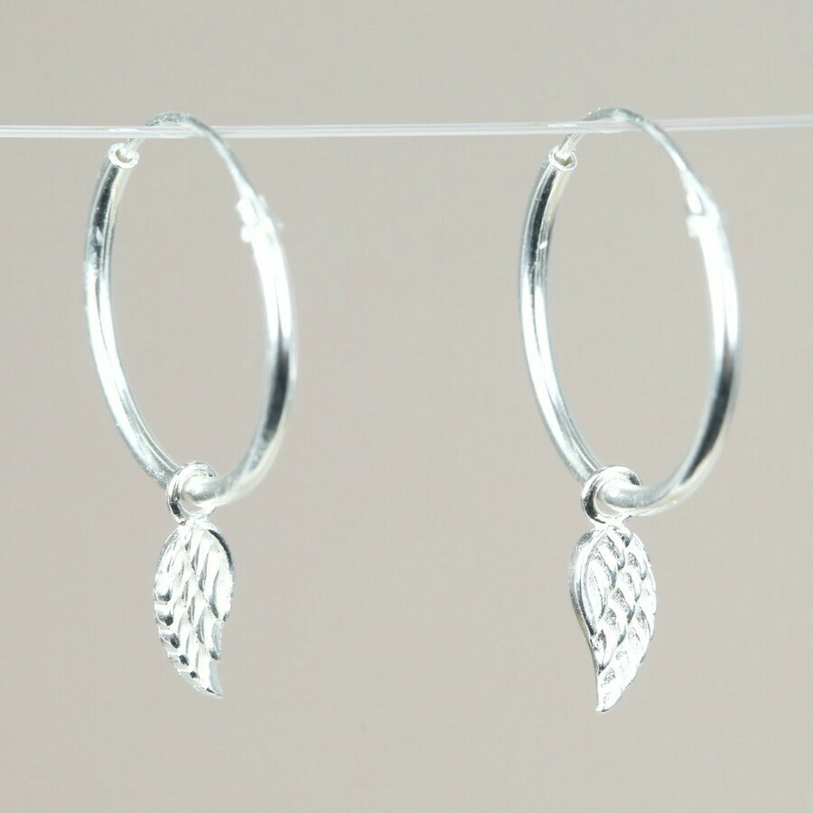 Sterling Silver Wing Charm Hoops