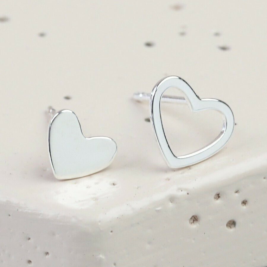 Mismatched Heart Earrings Silver