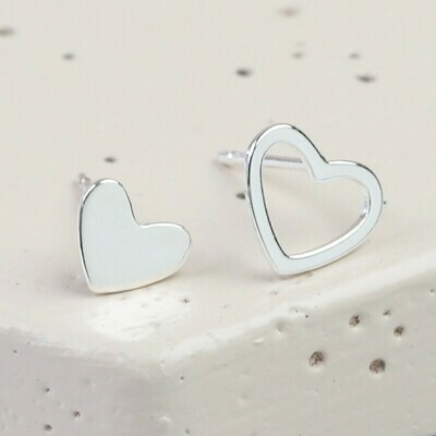 Mismatched Heart Earrings Silver
