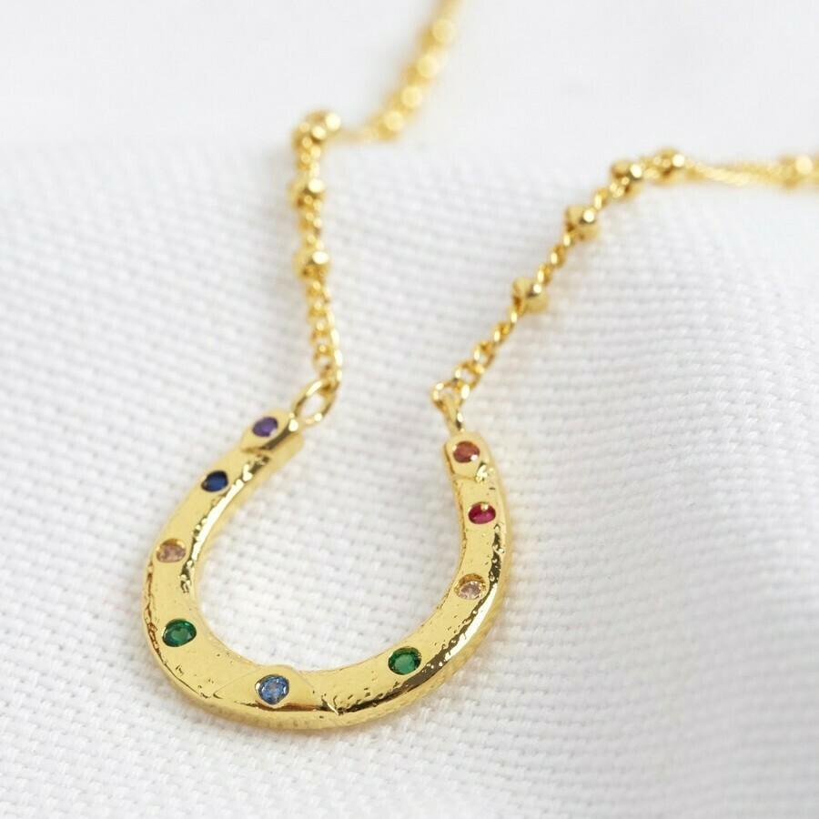 Rainbow Crystal Horseshoe Necklace