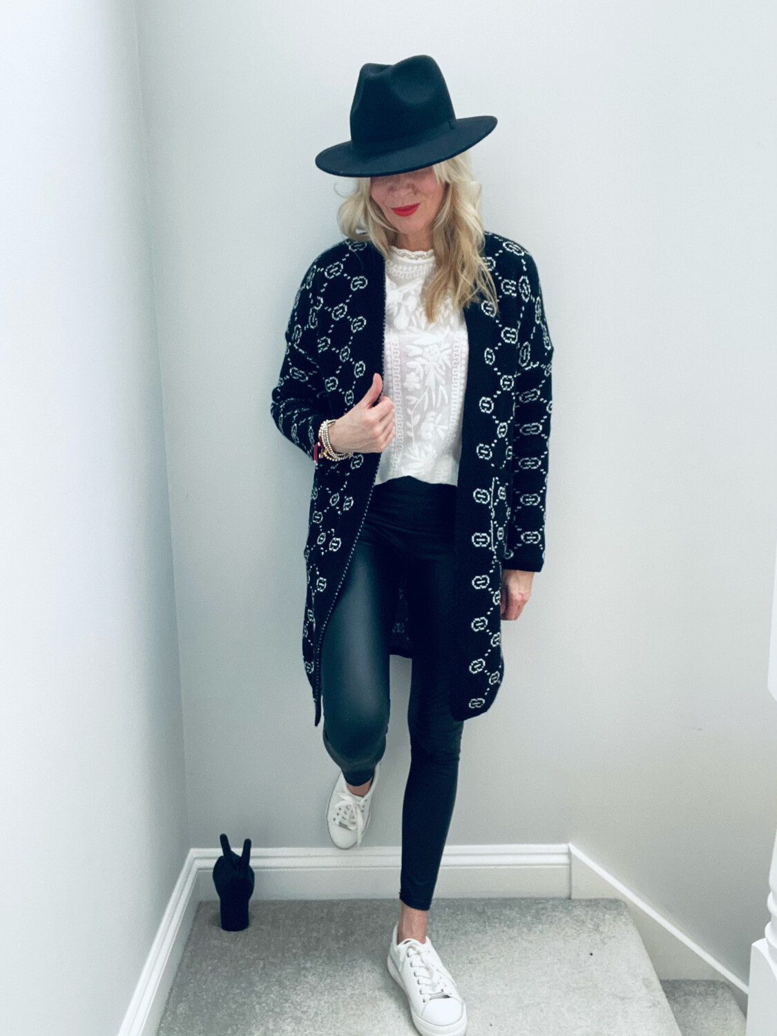 Gracie Open Front Knitted Cardigan Blk