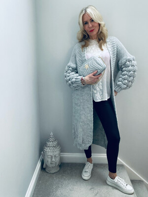 Kasha Open Front Knitted Cardigan Grey