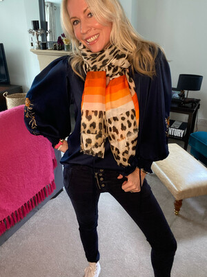 Laura Leopard Scarf (orange)