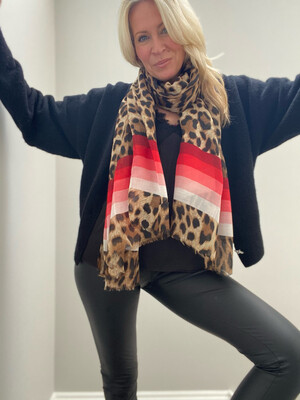 Laura Leopard Scarf (reds)