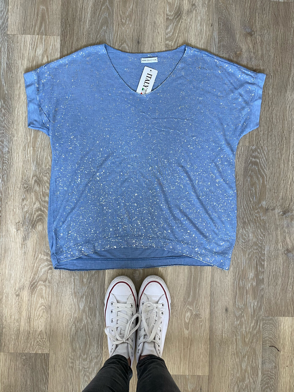 Evie Sparkle Basic Tee Powder Blue