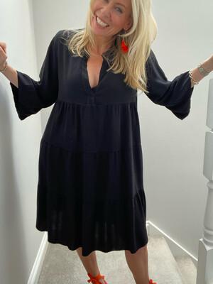 Indie Short Smock Dress Black