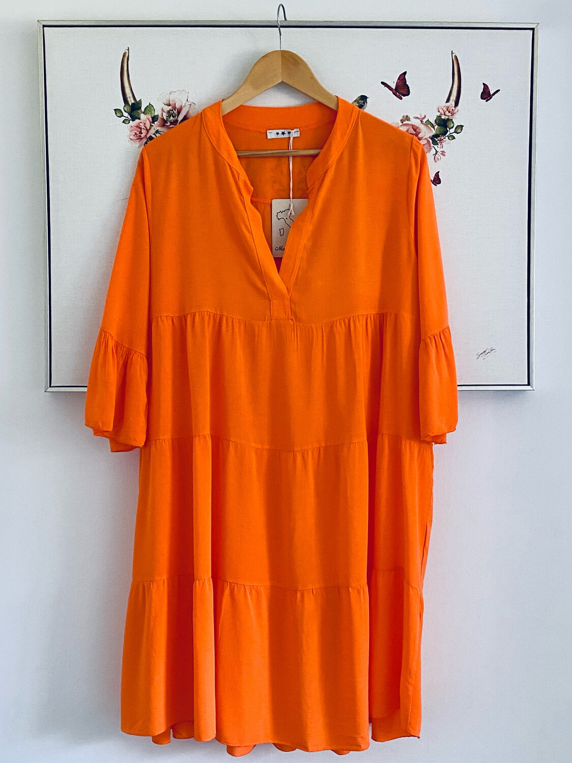 Indie Short Smock Dress Orange