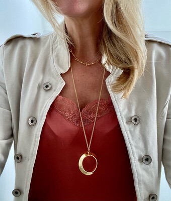 Darcy Plated Hoop Pendant Gold