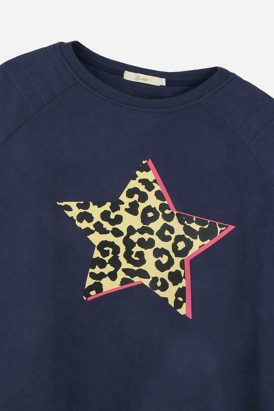 Leopard Star Sweat Navy