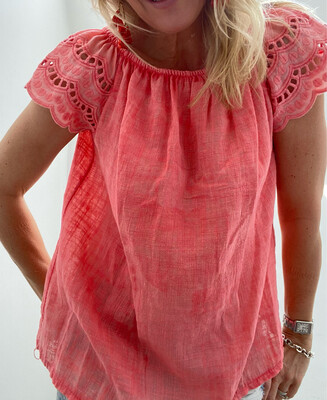 Jessie Blouse Coral (small pen mark on reverse)