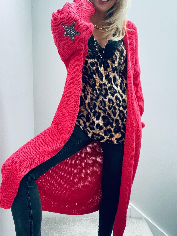 Ella Star Long Knitted Cardi Coral