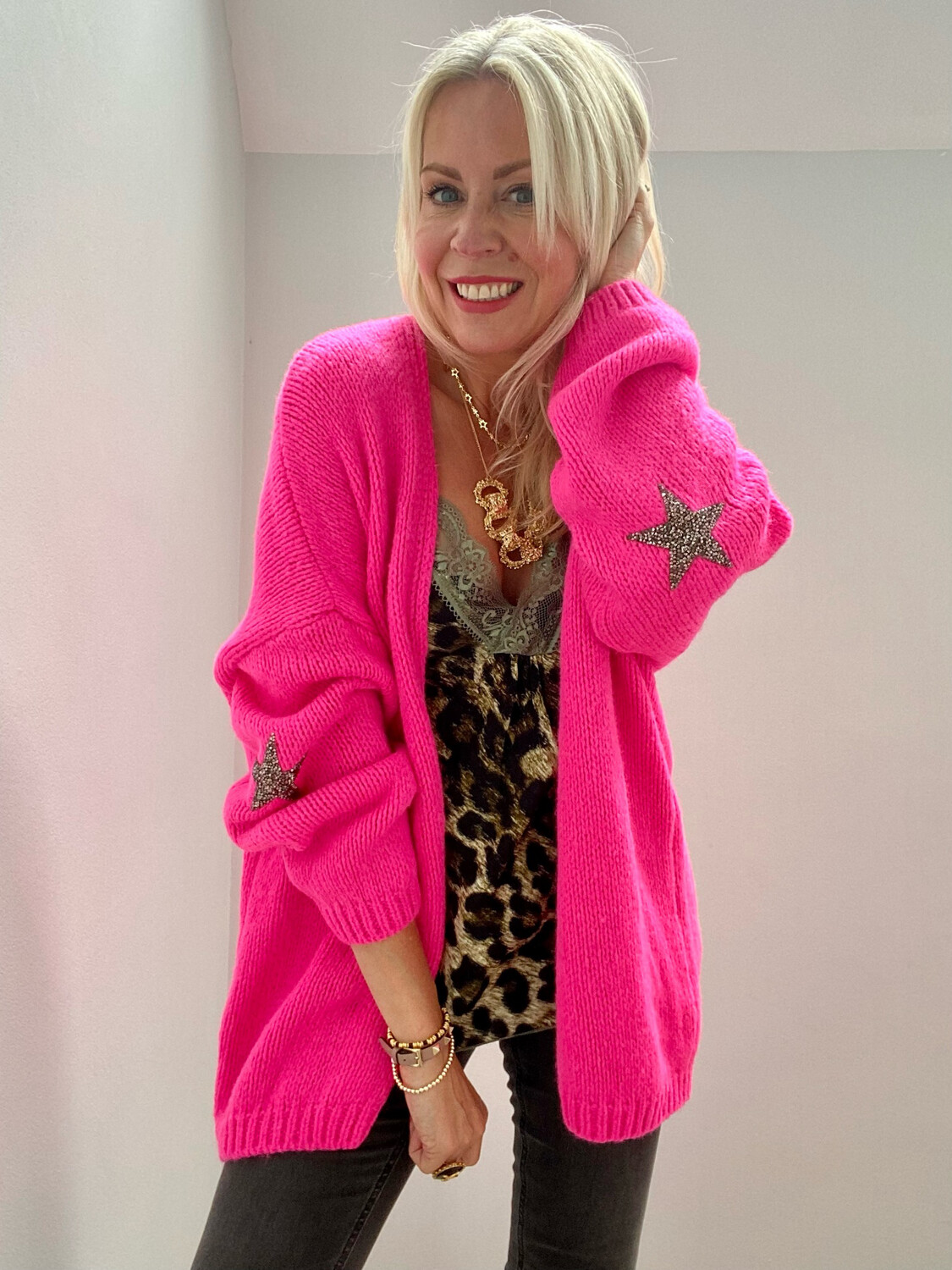 Polly Star Cardi Neon Pink
