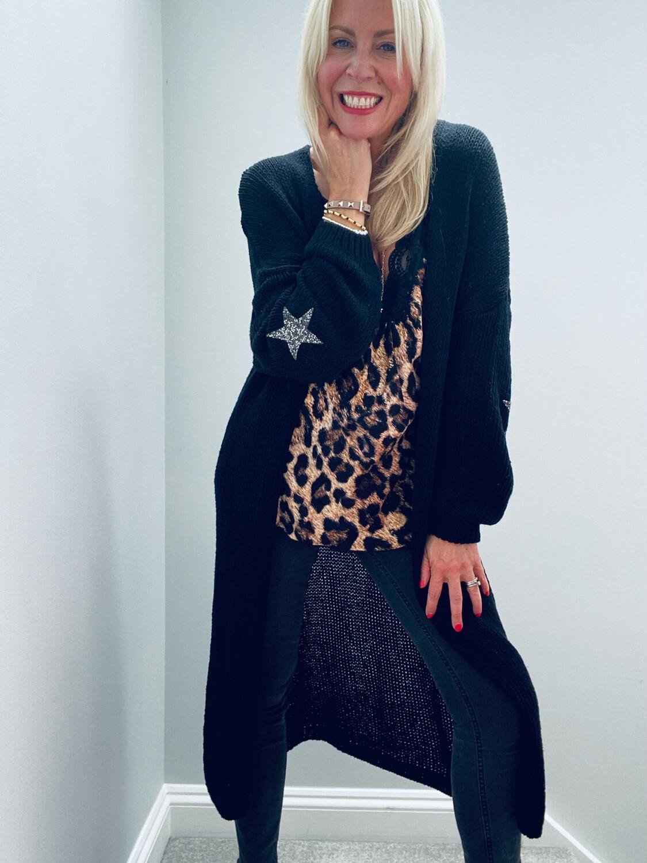 Ella Star Long Knitted Cardi Black