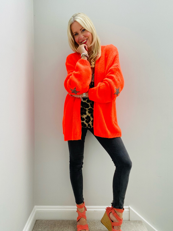 Polly Star Cardi Neon Orange