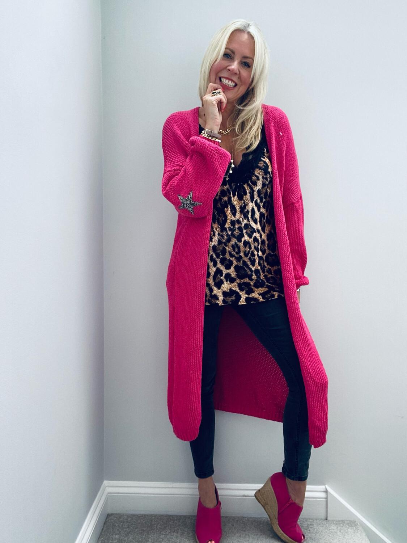 Ella Star Long Knitted Cardi Pink