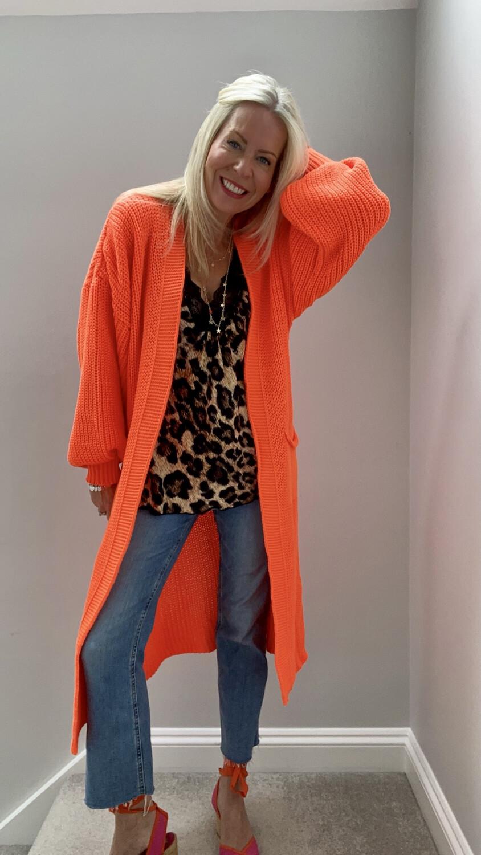 Maddie Longline Knitted Cardi Neon Orange