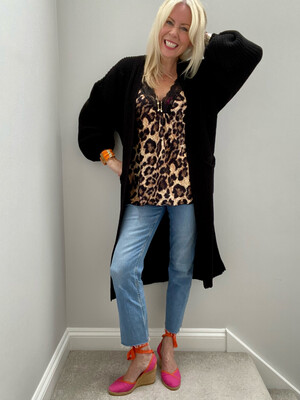 Maddie Longline Knitted Cardi Black