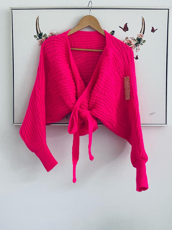 Frankie Wrap Cardi Neon Pink