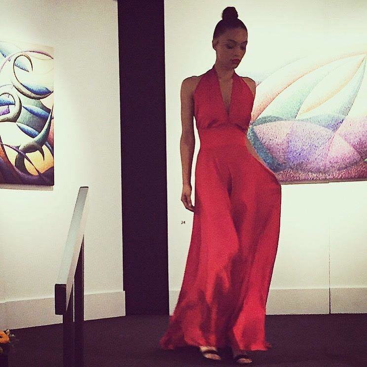 Red Silk Evening Gown (Custom Designed Only By Request)