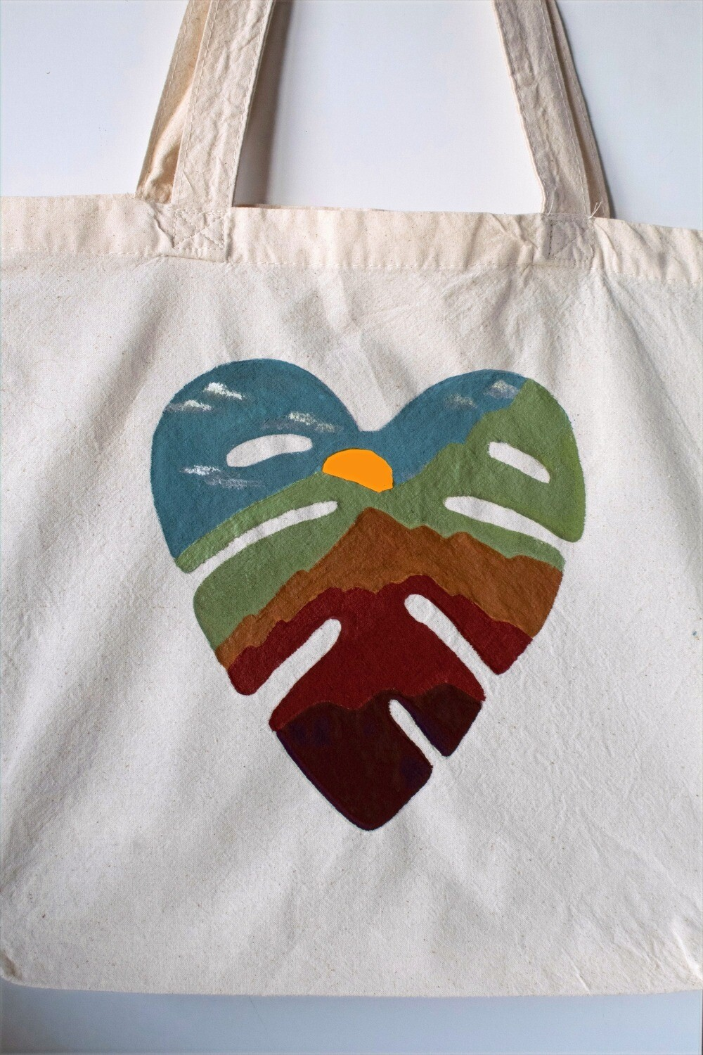 Monstera Mountain Hand-Painted Tote Bags