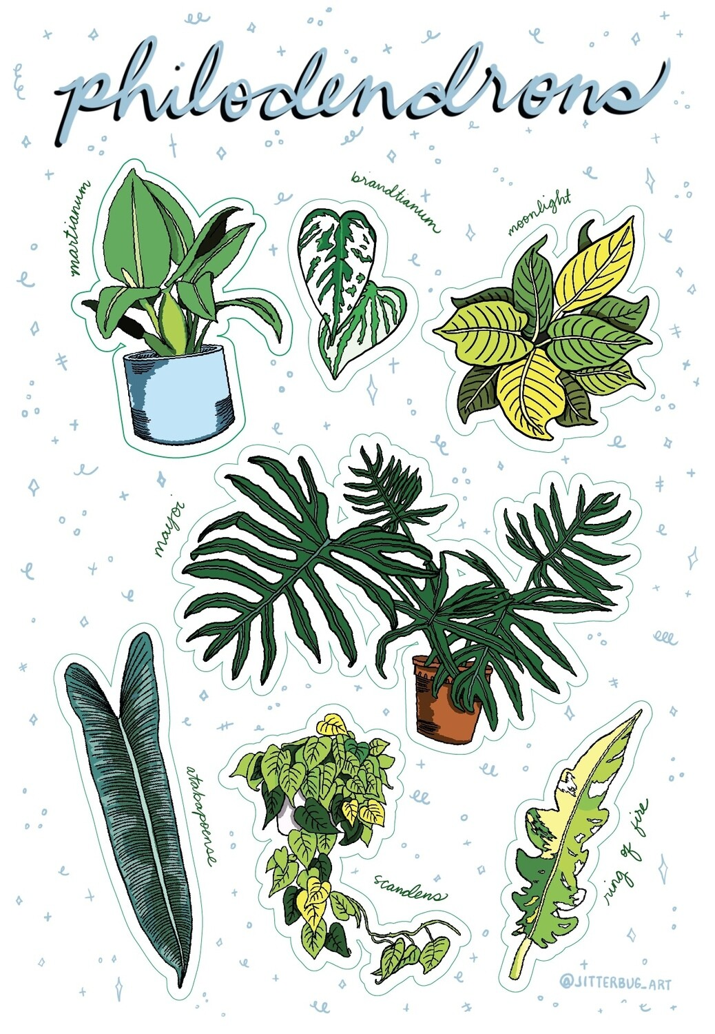 Philodendron Sticker Sheet