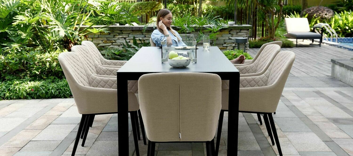 Image of: Zest 8 Seat Rectangular Dining Set With Firepit Table Taupe Available From 31st July 2020 Pre