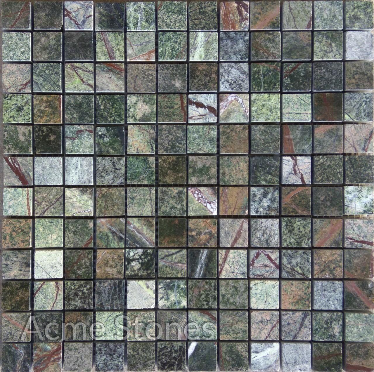 Regular Mosaic Rainforest Green 25x25mm Polished