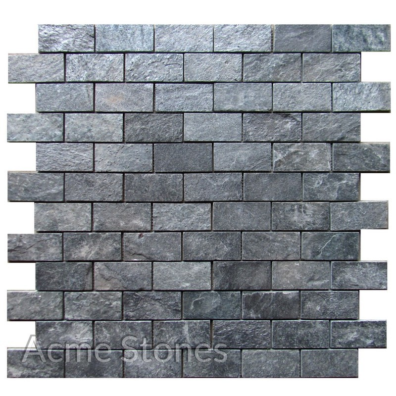 Brick Pattern Silver Grey 48x98 mm