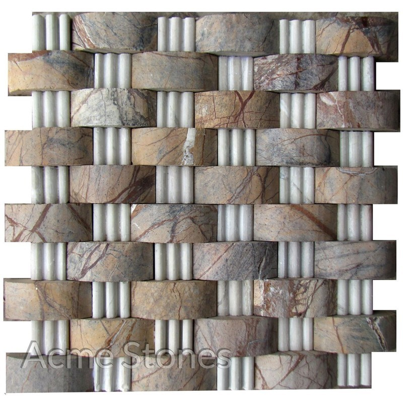 Brick Pattern Rainforest Brown White Marble Moulding