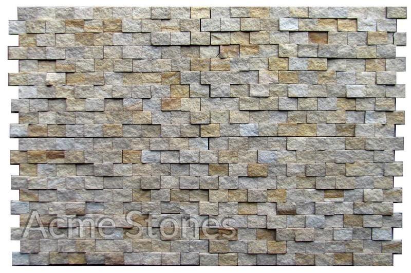 Brick Pattern Teak Split Face 20x30 mm