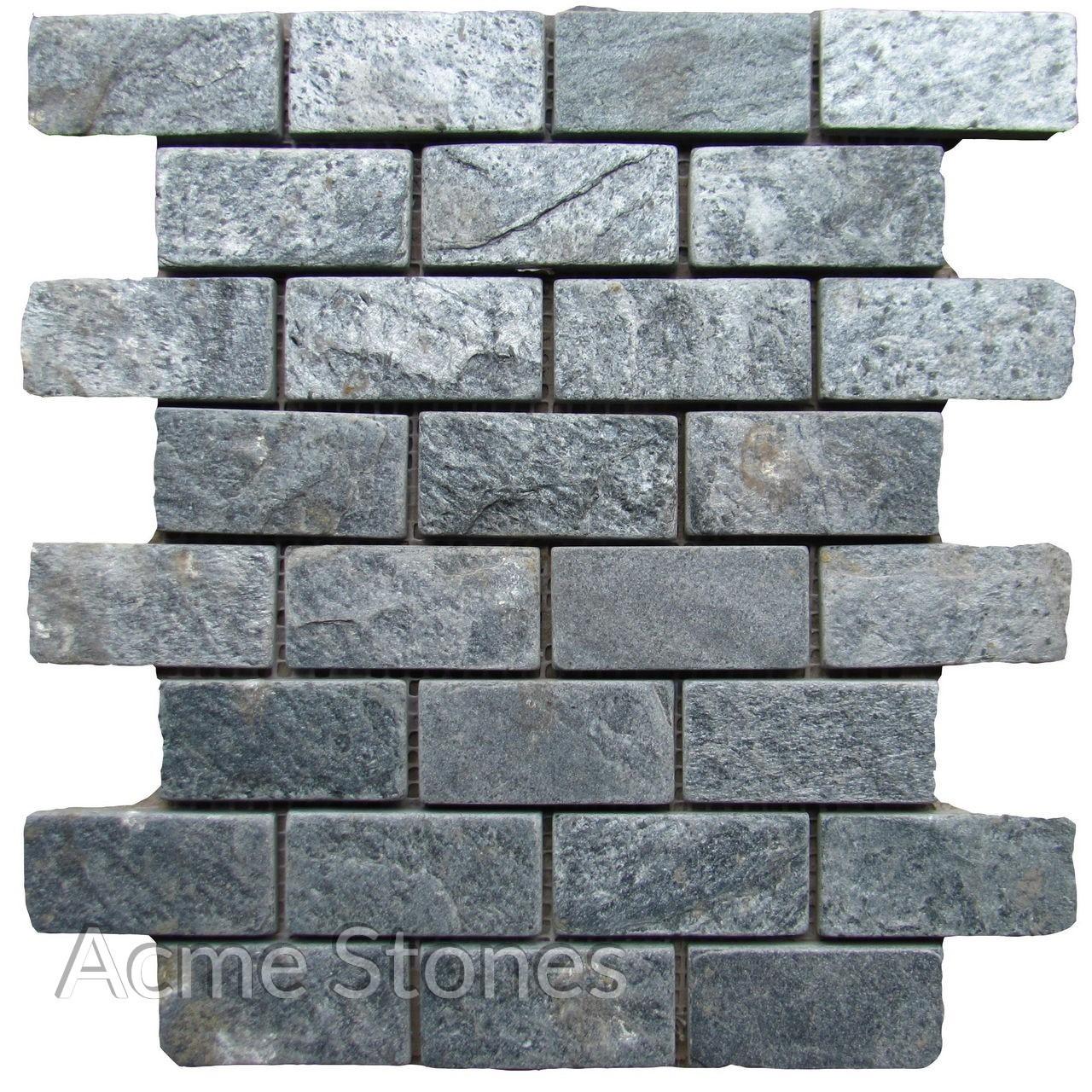 Brick Pattern Silver Grey Tumbled 37x75 mm