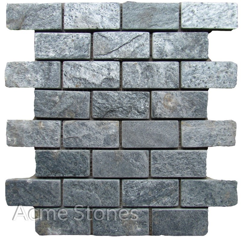Brick Pattern Silver Grey Tumbled 37x75 mm