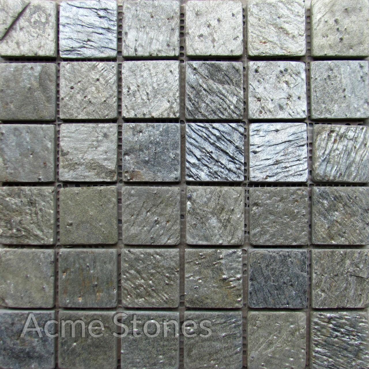 Regular Mosaic Deoli Green Tumbled 47x47mm