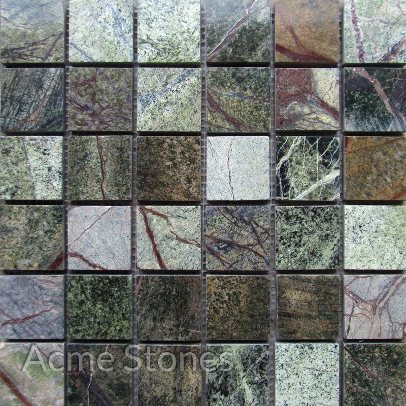 Regular Mosaic Rainforest Green Polished 47x47mm