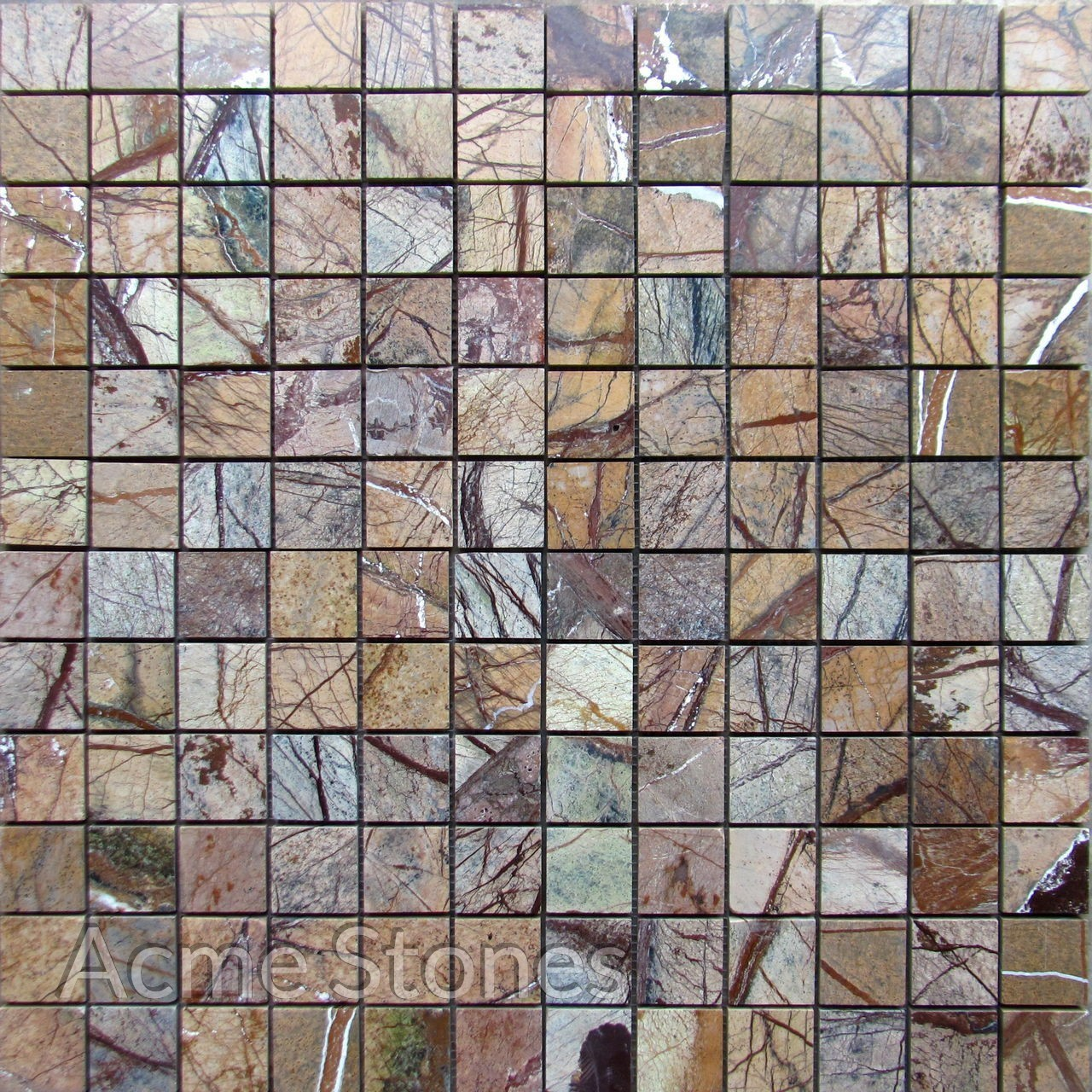 Regular Mosaic Rainforest Brown Polished 47x47mm