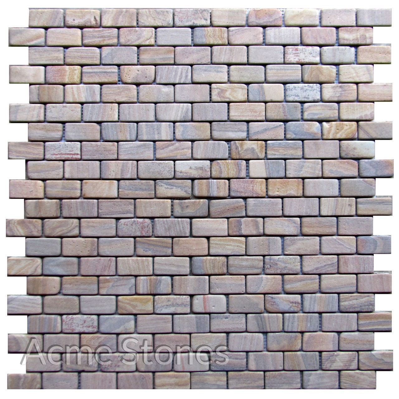 Brick Pattern Rainbow Sandstone Tumbled