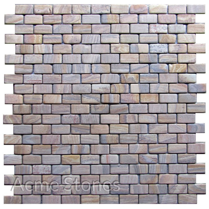 Brick Pattern Rainbow Sandstone Tumbled