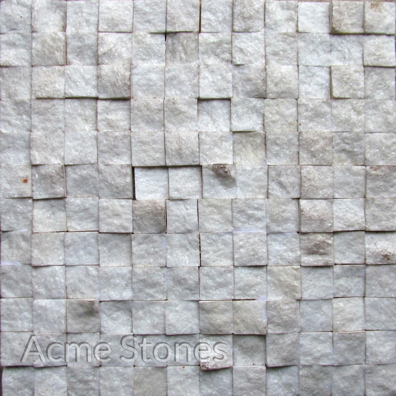 Regular Mosaic White Marble 25x25mm Split Face