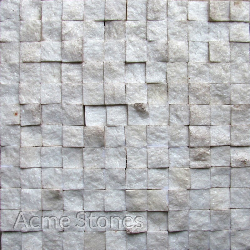 Regular Mosaic White Marble 25x25mm Split Face