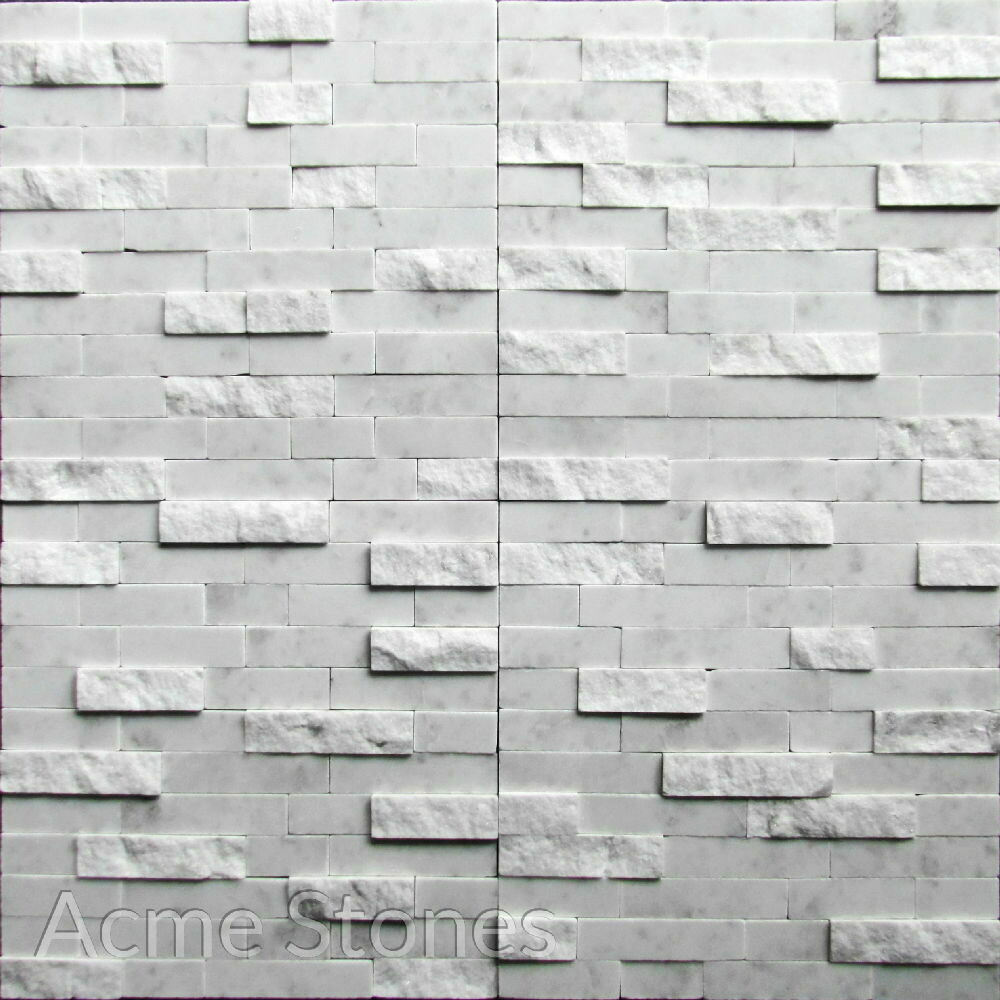 Stacking White Marble Split Face Polished 25mm