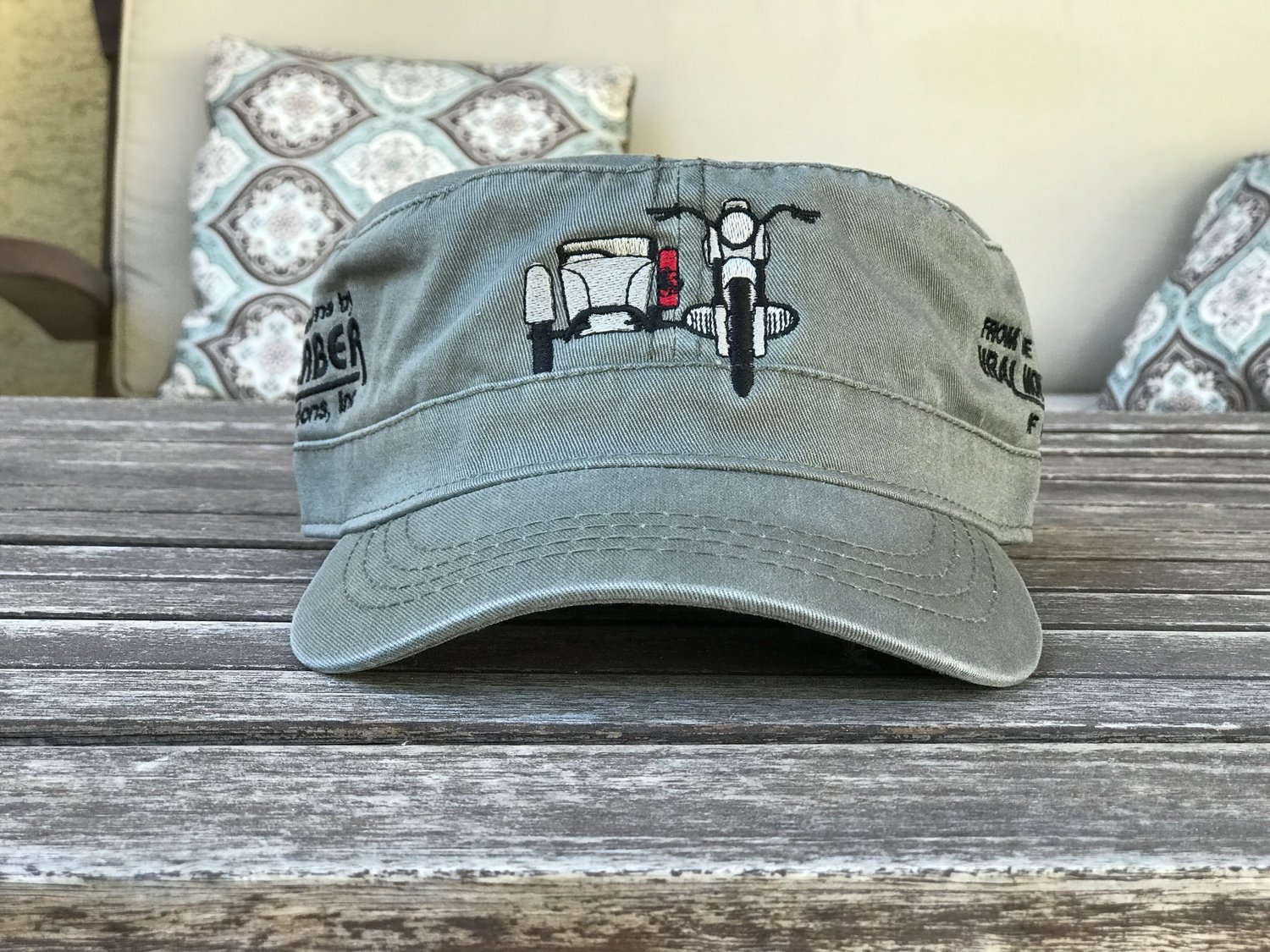 Embroidered Sidecar Hat - Military Style